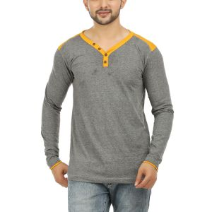 Aalryt Full Sleeve Henley Neck Cotton T Shirt White(code-spl002)
