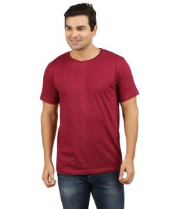 Aalryt Maroon Solid Round Neck T-shirt