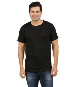 Aalryt Black Solid Round Neck T-shirt