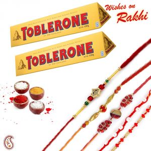 Rakhis & Gifts (India) - 02 pc Toblerone Chocolate and set of 02 Rakhi/Rakhshabandhan Hamper