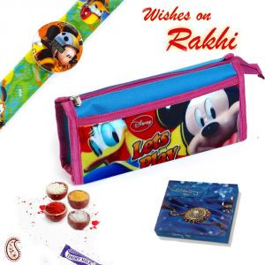 Rakhis & Gifts (India) - Aapno Rajasthan Kids Mickey Mouse Print Pouch Box and Rakhi Hamper - HPR17155