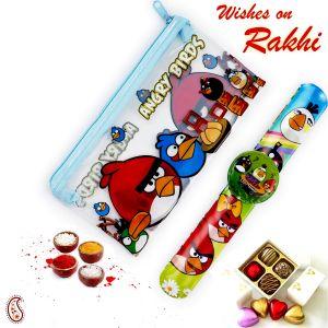 Rakhis & Gifts (USA) - Rakhi for USA- Aapno Rajasthan Cartoon Pouch Box & Rakhi Kids Hamper - US_HPR17174