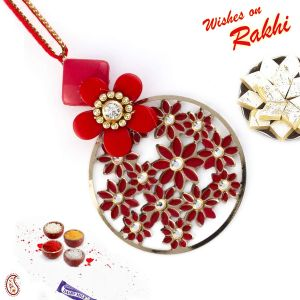 Red Floral Motifs & Ad Studded Lumba Rakhi (code - Lm171119_ag18 )