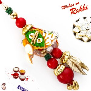 Charming Red & Green Pearl Beads Studded Lumba Rakhi (code - Lm171139_ag18 )