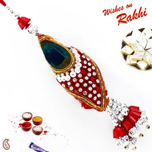Red & Green Peacock Feather Style Lumba Rakhi (code - Lm171140_ag18 )