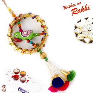 Multicolor Thread Beads Studded Parrot Motif Lumba Rakhi (code - Lm171150_ag18 )