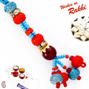 Red & Blue Beads Studded Hanging Lumba Rakhi (code - Lm171155_ag18 )