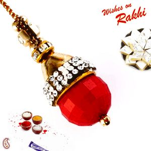 Charming Ad Studded Red Drop Bead Lumba Rakhi (code - Lm171164_ag18 )