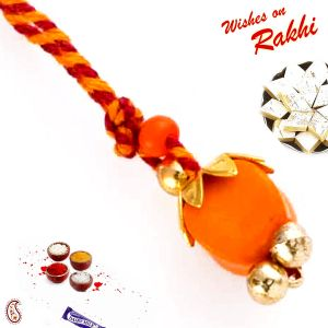 Elegant & Charming Orange Bead Studded Lumba Rakhi (code - Lm171167_ag18 )