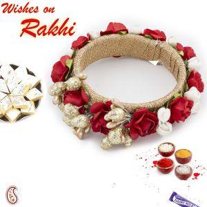 Rakhis & Gifts (India) - Aapno Rajasthan Rosr Motif Embellished Bangle Style Lumba Rakhi - LM171191