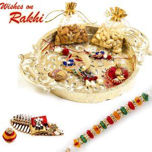 Rakhi Gift Hampers (USA) - Rakhi for USA- Aapno Rajasthan Gold Finish Traditional Dry fruit Tray with Bhaiya Rakhi - US_MB1709