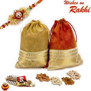 Rakhi Gift Hampers (USA) - Rakhi for USA- Aapno Rajasthan 2 Leatherite Pouches with Dryfruits & 1 Bhaiya Rakhi - US_MB17107