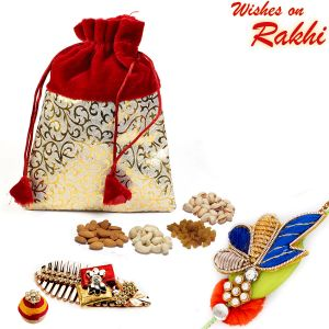 Rakhi Gift Hampers (for Brothers in India) - Aapno Rajasthan Red & Golden Velvet Touch Dry fruit Pouch and Rakhi Hamper - MB1715