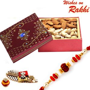 Rakhi Gift Hampers (USA) - Rakhi for USA- Aapno Rajasthan Almonds and Pista Box with FREE Rakhi and Tilak - US_MB1728