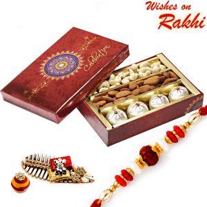 Rakhis & Gifts (Abroad) - Rakhi for UAE - Decorated Box of Kaju Laddoos, Cashews, Almonds and Rakhi - UAE_MB1731
