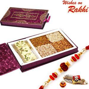 Rakhi Gift Hampers (USA) - Rakhi for USA- Aapno Rajasthan Mix Dryfruit Gift Box with Patisa & Rudraksh Rakhi - US_MB1734