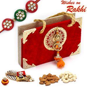 Rakhi Gift Hampers (USA) - Rakhi for USA- Aapno Rajasthan Red & Gold Dryfruit Box with 1 Bhaiya Rakhi - US_MB1773