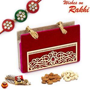 Rakhi Gift Hampers (USA) - Rakhi for USA- Aapno Rajasthan Maroon Envelope Style Dryfruit Pack with 1 Bhaiya Rakhi - US_MB1775