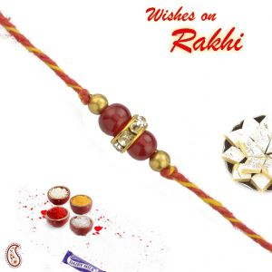 Thread Rakhis (India) - Red Glass beads and Stone Hoops Mauli Thread Rakhi/Rakhshabandhan