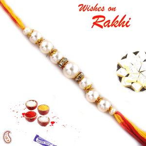 Pure Pearl And White Stone Hoops Rakhi (code - Prl17519_ag18 )