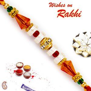 Rakhis & Gifts (USA) - Rakhi for USA- Aapno Rajasthan Aapno Rajasthan Orange Crystal Beads & AD Studded Rakhi - US_PRL17559