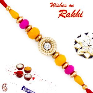 Rakhis & Gifts (Abroad) - Rakhi for Brothers in UK - Aapno Rajasthan Pink & Yellow Beads Beautiful Rakhi (Code-INT_PRS1704_18)