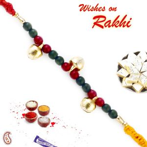 Rakhi For Brothers In Uk - Aapno Rajasthan Red & Green Beads Mauli Thread Rakhi (code-int_prs1711_18)