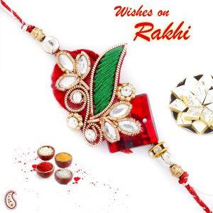 Rakhis & Gifts (Abroad) - Rakhi for UK - Aapno Rajasthan Kundan Studded Beautiful Zardosi Rakhi - UK_PRS17137
