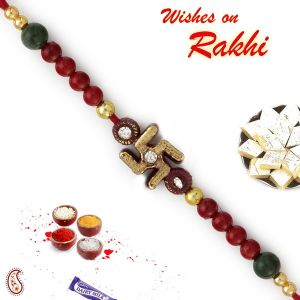 Rakhis & Gifts (Abroad) - Rakhi for Brothers in UK - Aapno Rajasthan Maroon & Green Beads Mauli Rakhi with Swastik (Code-INT_PRS1717_18)