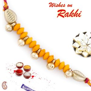 Rakhi For Brothers In Uk - Aapno Rajasthan Bells & Beads Studded Mauli Rakhi (code-int_prs1719_18)