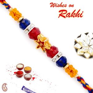 Rakhi For Brothers In Uk - Aapno Rajasthan Golden Star & Colorful Crystal Beads Studded Rakhi (code-int_prs1760_18)