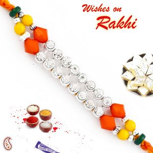 Apno Rajasthan Wonderful Multicolor Beads & Ad Studded Mauli Thread Rakhi (code - Prs1765_ag18)