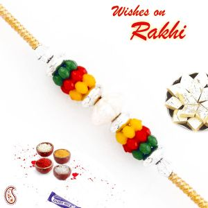 Multicolor Cluster Beads Thread Rakhi By Apno Rajasthan (code - Prs1769_ag18)