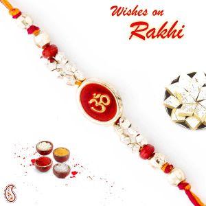 Rakhis & Gifts (Abroad) - Rakhi for UK - Aapno Rajasthan Beautiful Red & Gold Beads Studded OM Thread Rakhi - UK_PRS1770