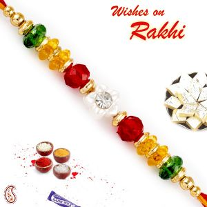 Aapno Rajasthan Colorful Crystal Beads Mauli Thread Rakhi (code - Prs1791_ag18)