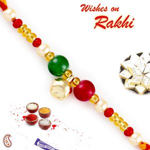 Aapno Rajasthan Red & Green Beads Mauli Thread Rakhi (code - Prs1793_ag18)