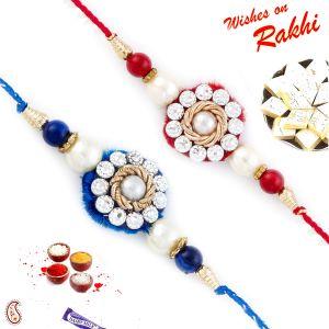 Designer Rakhis - Aapno Rajasthan Set of 2 Red & Blue Beautifully Jewelled Rakhi - PST17209