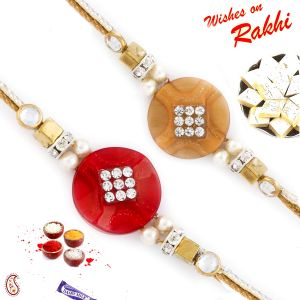 Set Of 2 Red & Beige Elegant Rakhi (code - Pst17213_ag18 )