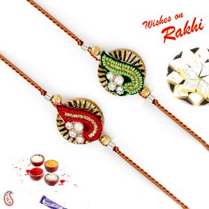 Aapno Rajasthan Set Of 2 Green & Red Beads Ad Studded Rakhi (code - Pst17245_ag18 )