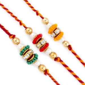 Rakhis & Gifts (Abroad) - Rakhi for UK - Aapno Rajasthan Set of 3 Green, Red & Yellow Beads Studded Rakhis - UK_PST17301