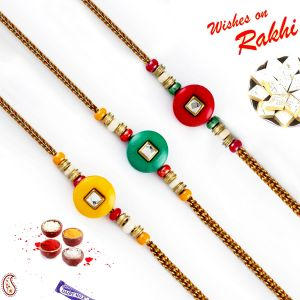 Aapno Rajasthan Set Of 3 Crystal Stone Multicolor Beads Rakhi (code - Pst17305_ag18 )