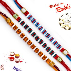 Thread Rakhis (India) - Aapno Rajasthan Set of 3 Multicolor Tiny Beads Embellished Rakhi (Code - PST17308_AG18 )