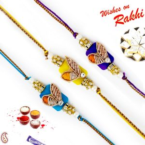 Aapno Rajasthan Set Of 3 Rich Zardosi Work Yellow & Blue Rakhi (code - Pst17309_ag18 )