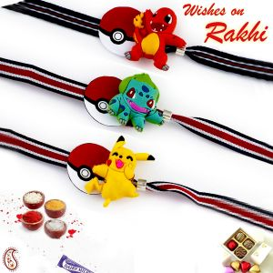 Aapno Rajasthan Set Of 3 Lovely Cartoon Characters Motif Kids Rakhi (code - Pst17322_ag18 )
