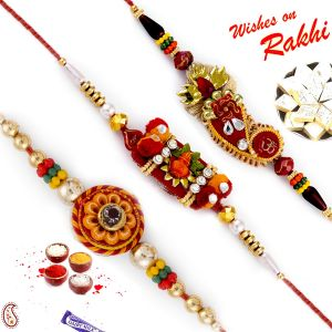 Aapno Rajasthan Set Of 3 Hand Work Traditional Rakhis