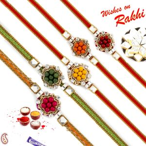 Aapno Rajasthan Set Of 5 Multicolour Beads Rakhi With American Diamonds