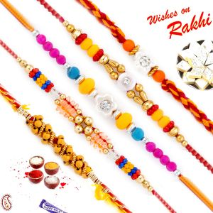Thread Rakhis (India) - Aapno Rajasthan Set of 5 Traditional Rakhis with Golden Beads