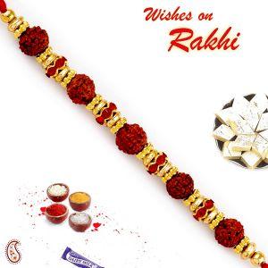 Rakhis & Gifts (Abroad) - Rakhi for Abroad_Aapno Rajasthan Golden Round Ring Studded Rudraksh Rakhi - INT_RD17466