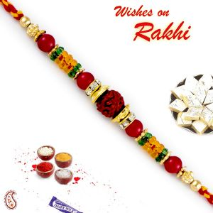 Aapno Rajasthan Multicolor Round Beads Studded Rudraksh Rakhi (code - Rd17471_ag18 )