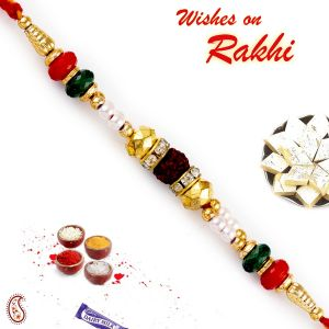 Aapno Rajasthan Multicolor Round Beads & Ad Studded Rudraksh Rakhi (code - Rd17472_ag18 )